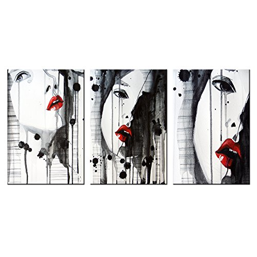 Vvovv Wall Decor   Sexy Nude Girl With Red Lips Picture Print On Canvas Black And Red Naked Lady Poster Art Prints Photo Splash Ink Painting Modern Bedroom Decoration 12X24 X3