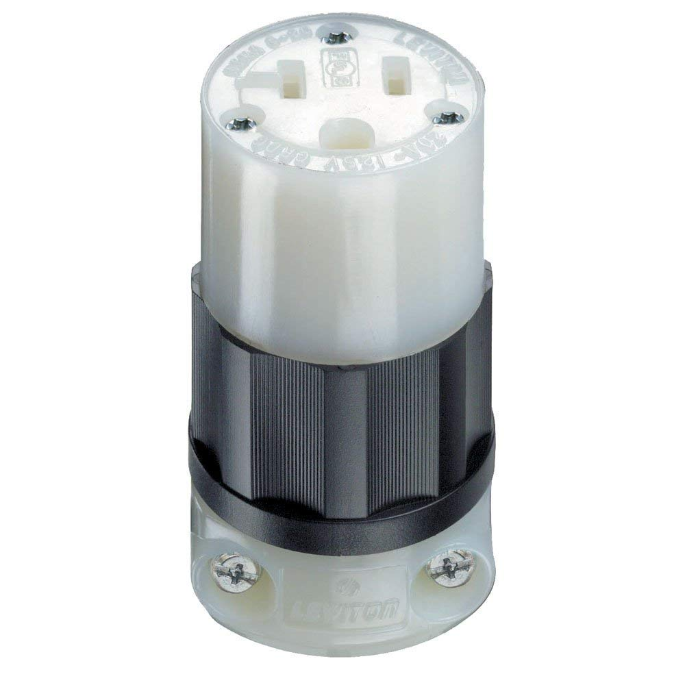 Leviton 5369-C 20 Amp, 125 Volt, Connector, Industrial Grade, Straight Blade, Grounding, Black-White (3)