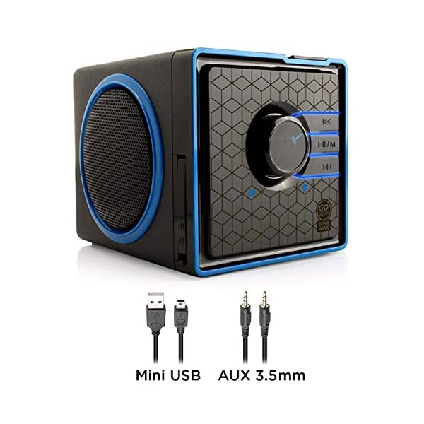 Portable Speaker with USB Music Player - Cube Speaker with USB Flash Drive MP3 Input, 3.5mm AUX Port, Playback Controls, Rechargeable Removable Battery (Wired, Blue) 5