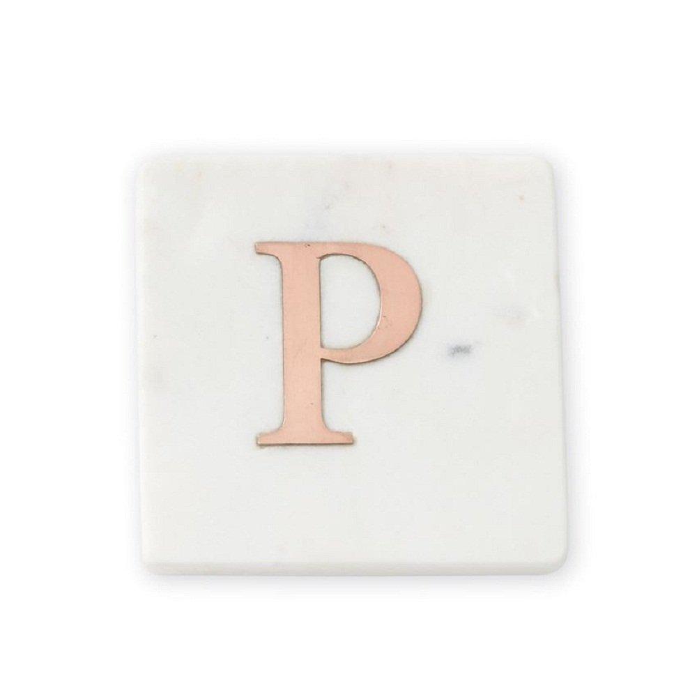 Mud Pie Initial Letter P大理石と銅コースターセットの4   B07F7Z9LLG