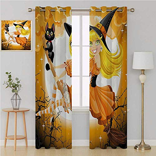 Halloween gromet Curtain Room Darkening Noise Reducing Blackout Curtain,Cute Sexy Witch on a Broom with Baby Kitten and Hazy Moonlight Halloween Themed soundproof curtain 84 By 96 Inch Multicolor -