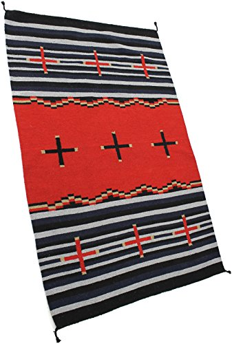 Onyx Arrow Southwest Décor Area Rug, 4 Foot x 6 Foot, Cross Collection Black/Red Stripe