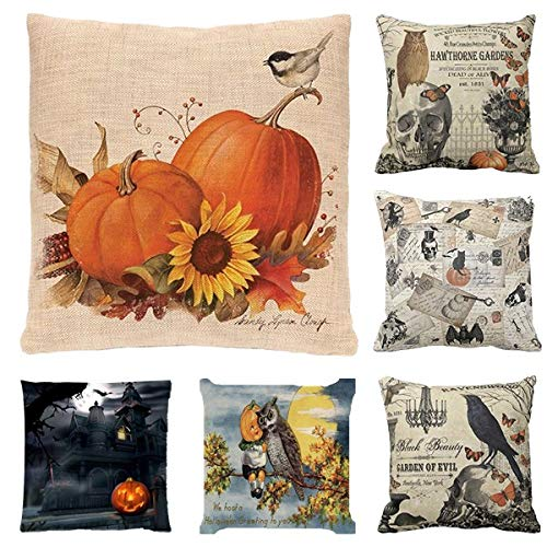 Halloween Throw Pillow Covers,Pumpkin Owl Solid Throw Pillow Cases for Couch Car Bed Pillows,Fashion Cotton Linen Cushion Covers Set,kid Pillow Shams,Fall Harvest Home Decor (C)