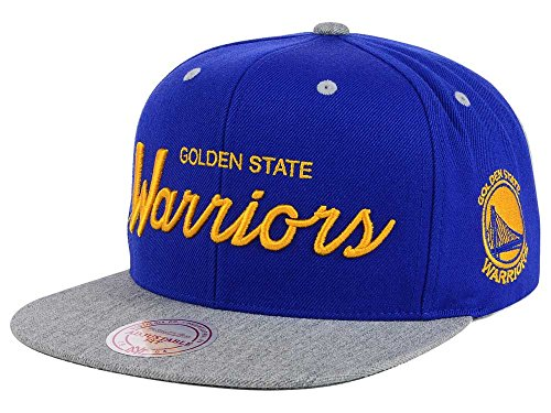 - Mitchell and Ness NBA Golden State Warriors Special Script Blue 2 Tone Snapback Cap