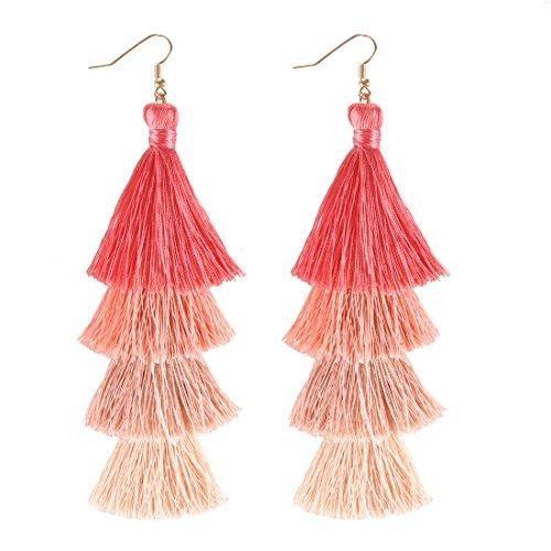 Coral Drop Earrings - ELEARD Tassel Earrings Tiered Thread Tassel Dangle Earrings Statement Layered Tassel Drop Earrings Ombre Red