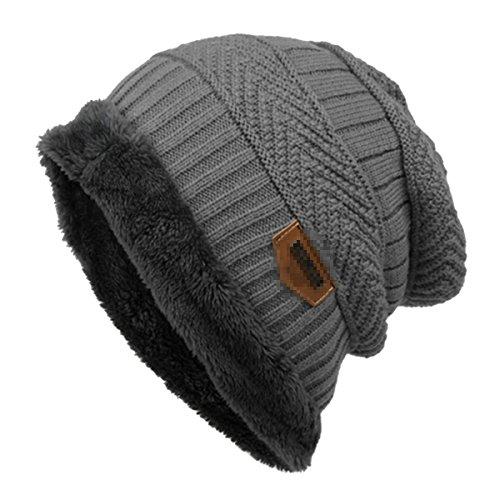 Gorro de esquí para hombre Butterme, cálido, suave, con forro grueso, lana gruesa, de uso diario gris