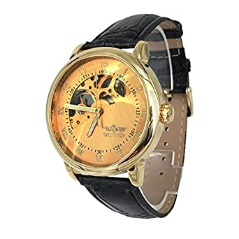KTC Winner Gold Color Semi Skeleton Dial Hand-Wind Mechanical Movement Leather Strap Businss Wrist Watch