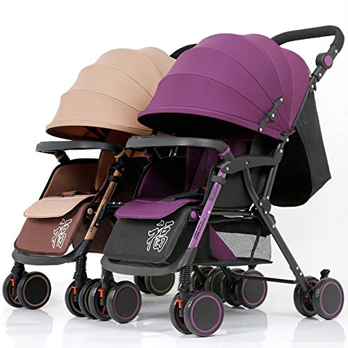 Twins and Twin Strollers- Tandem Double Pushchair from Birth- Reversible Seat Convertible to Carrycot- Lightweight with Convertible Bassinet Stroller,Khaki + Purple Color Tube