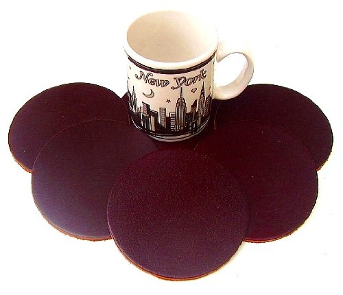 (Coasters Leather Round 6 Pcs Chocolate Brown)