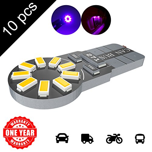 LED Monster 10-Pack Purple 18-SMD LED Light Bulb for Turn Signal License Plate Interior Map Dome Side Marker Light 194 168 2825 175 192 W5W T10 Wedge Super Bright High (Evolution Race Gloves)