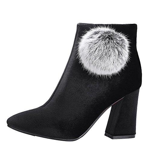 Mee Shoes Damen Blockabsatz Suede Reißverschluss Stiefel Schwarz
