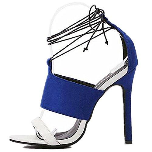 ANBOVER Womens Sexy Cross Strap High Stiletto Heel Dress Sandals Blue G9Mq9wh