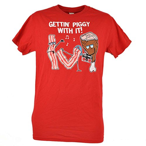 Gettin Piggy With It Bacon Strips Dancing Funny Tshirt Tee Novelty Red Large