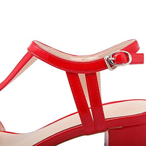 Amoonyfashion Femmes Boucle Ouverte Orteils Chaton Talons Vache En Cuir Solide Sandales Rouge