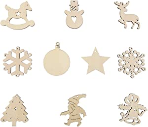 Wooden Christmas Ornaments 2020,for DIY Crafts Christmas Decoration or Christmas Tree,20 PCS 10 Styles