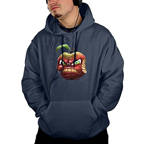 Price comparison product image Men's 100% Cotton Front Pocket A Funny Cartoon Angry Sour Apple Long Sleeve Hooded Sweatshirt