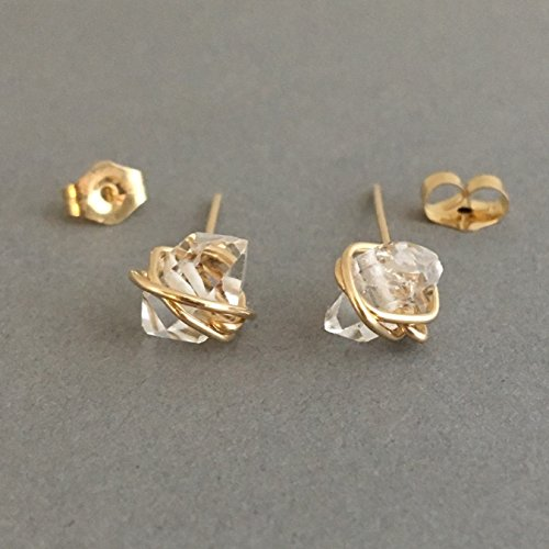 (Wire-Wrapped Herkimer Diamond Post Earrings in Gold Fill, Rose Gold Fill, or Sterling Silver)