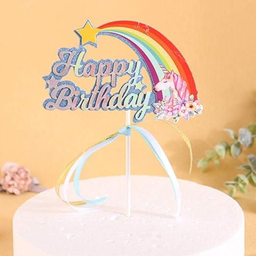Tonglisen Cumpleaños Arco Iris Nube Unicornio Cake Topper ...