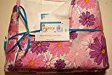 Pocket-2in1-Sheet Pink & Purple Flowers with White Flannel 2 in 1 Patented No Slip Reversible Pack n Play Play Yard Fitted Sheet Cover or Day Care Mini Crib Mattress Sheet