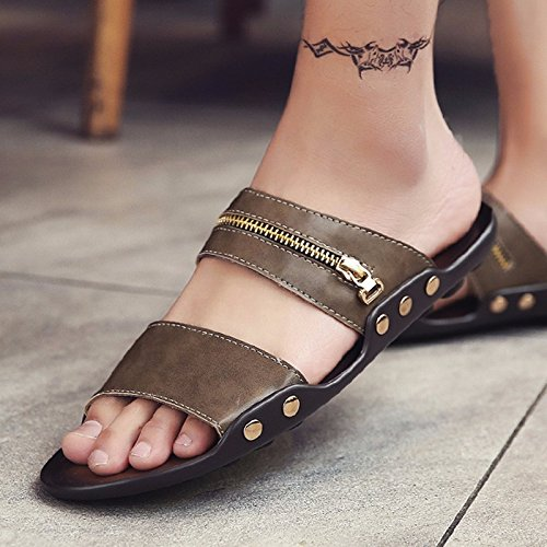 Sommer Sandalen Männer Breathable Trend Schuh Flip Flop Männer Strand Schuh Ultra-Licht Trend Schuh Sandalen, Khaki, UK = 7,5, EU = 41 1/3