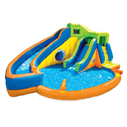 Kids Twist - Banzai Pipeline Twist Kids Inflatable Outdoor Water Park Pool Slides & Cannons
