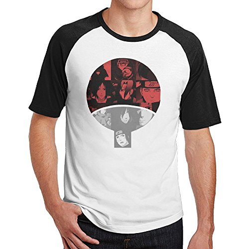 Men's Shippuden Uchiha Clan Short Sleeve Raglan Baseball T-Shirt, Athletic Shirts Casual Tees Medium