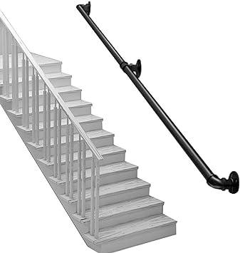 ZBMMBZ Escalera Barandilla Hierro Forjado Jardín De Infantes Loft Entretenimiento Pasillo Interior Y Exterior Canal Pared Escalera Pasamanos Tubo Pasamanos (Size : 50cm): Amazon.es: Bricolaje y herramientas