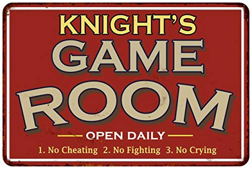 (Chico Creek Signs KNIGHT'S Game Room Personalized Sign Vintage Look Metal Wall 12x18 112180001243)