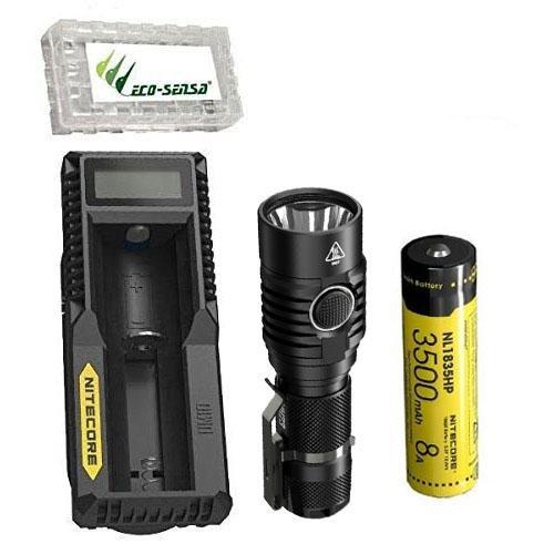 NITECORE MH23 1800 Lumen Compact Flashlight w/NL1835HP 3500mAh Battery, UM10 Charger +FREE Eco-Sensa Battery Case