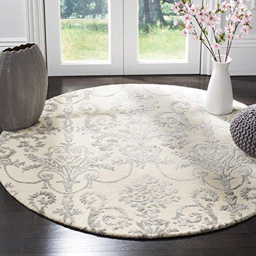 Safavieh Bella Collection BEL917A Ivory and Grey Premium Wool & Viscose Round Area Rug (5' Diameter)