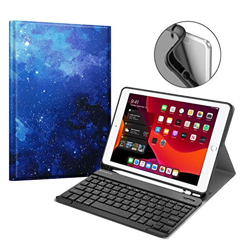 """Fintie Keyboard Case for New iPad 7th Generation 10.2 Inch 2019, Soft TPU Back Stand Cover w/Built-in Pencil Holder, Magnetically Detachable Wireless Bluetooth Keyboard for iPad 10.2"""", Starry Sky"""