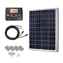 HQST 100 Watts 12 Volts Polycrystalline Solar Panel Off-Grid RV and Boat Kit with 30A PWM LCD Display Charge Controller/Adaptor Cables/Mounting Brackets