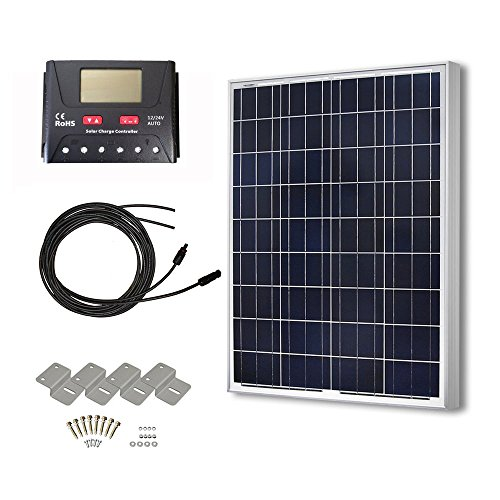 HQST 100 Watts 12 Volts Polycrystalline Solar Panel Off-Grid RV and Boat Kit with 30A PWM LCD Display Charge Controller + Adaptor Cables + Mounting (Solar Power Shed)