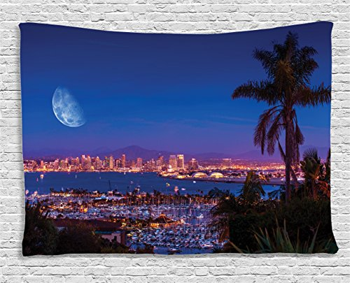 Ambesonne Apartment Decor Collection, San Diego California, Night With Large Moon On The Horizon Yachts Panorama , Bedroom Living Room Dorm Wall Hanging Tapestry, 60W X 40L Inch (Outdoor Furniture San Diego California)