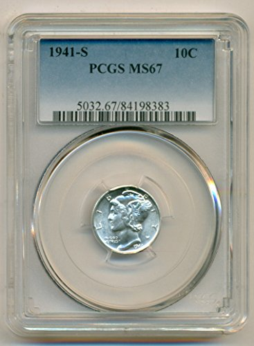 1941 S Mercury Dime MS67 PCGS