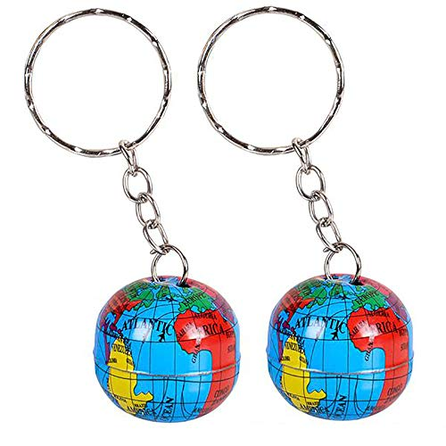 Kicko 1 Inch Globe Keychain - 48 Pack Mini Backpack Hook for Travelers - Keyring for Bag and Belt Loop Accessory, Back to School Item, Arts and Crafts, Educational Tool, Party Favors]()