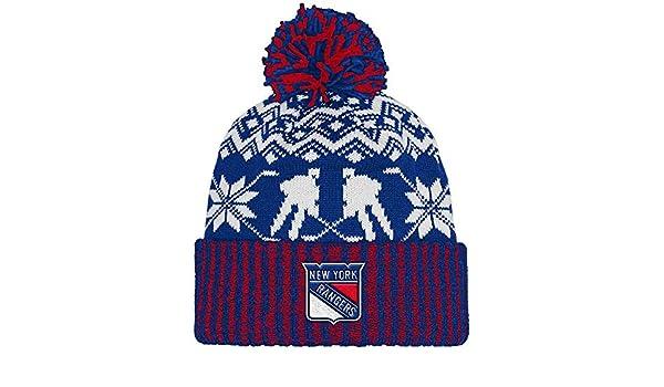 Adidas New York Rangers Ugly Sweater Knit Cuffed Pom