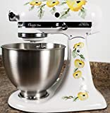 kitchenaid mixer flower - Yellow Poppy Flowers Watercolor Kitchenaid Mixer Mixing Machine Decal Art Wrap