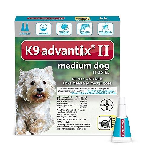 Bayer K9 Advantix Ii Flea  Tick And Mosquito Prevention For Medium Dogs  11   20 Lb  2 Doses