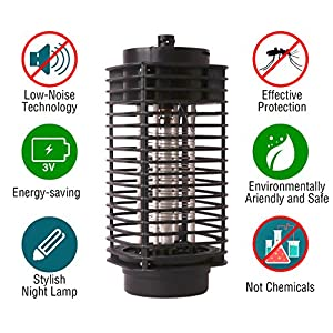 Bug Zapper Lamp-Indoor Fly Mosquito Repellent -110 v Electric Insect Killer -Mosquito Killer Lamp UV Light -Mosquito Trap -For Home-From Flying Insects- Black
