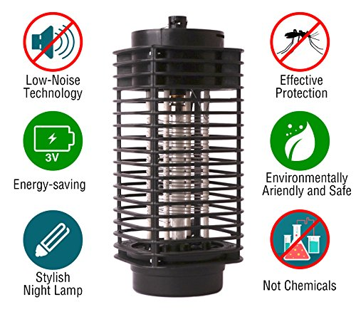 Bug Zapper Lamps (Bug Zapper Lamp-Indoor Fly Mosquito Repellent -110 v Electric Insect Killer -Mosquito Killer Lamp UV Light -Mosquito Trap -For Home-From Flying Insects- Black)