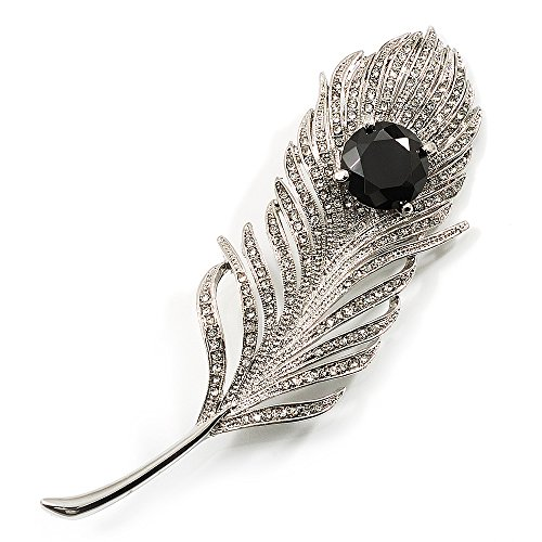 (Avalaya Large Swarovski Crystal Peacock Feather Silver Tone Brooch (Clear & Black) - 11.5cm Length)