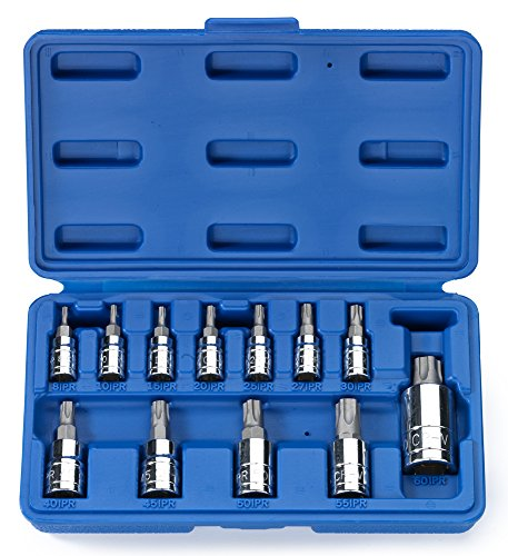 Neiko 10085A Tamperproof Torx Plus Bit Socket, 12 Piece Set | 5 Point Star, 8 IPR - 60 IPR | Cr-V & S2 Steel