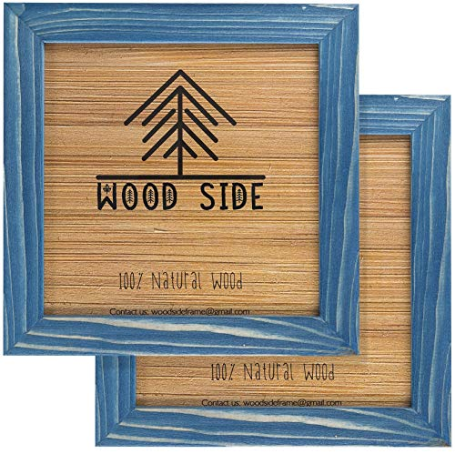 Rustic Wooden Square Picture Frames 8x8 - Set of 2-100% Natural Farmhouse Washed Barn Wood with Real Glass for Wall Mounting Photo Frame - Navy Blue