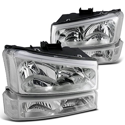 Chevy Silverado Crystal Clear Lens Headlights with Bumper Lamps