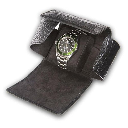 Rapport London Single Watch Roll with Crocodile Pattern Black Leather by Allurez
