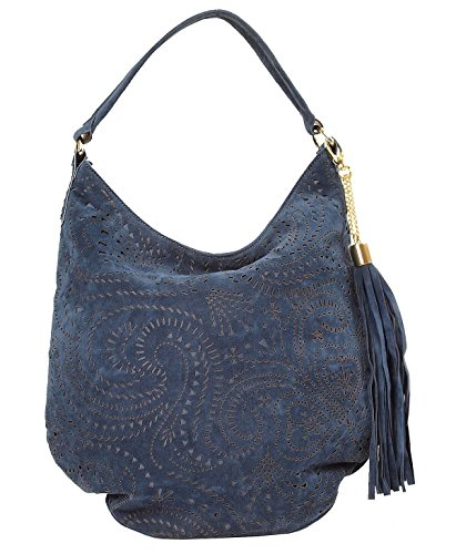 Imoshion Closure Laser Tassel Suede And Hobo Zipper Fashionable Women's With Cut Faux Blue Side rqnOEr1A