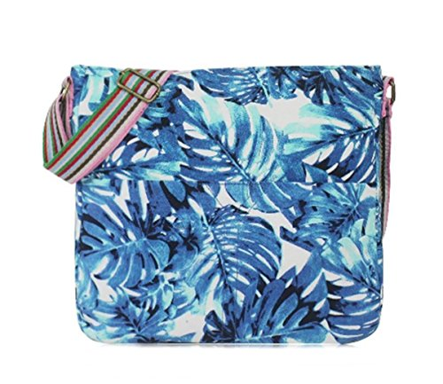 Print Leaf Canvas Large Hawaiian Messenger Blue Medium Bag 4Izqx