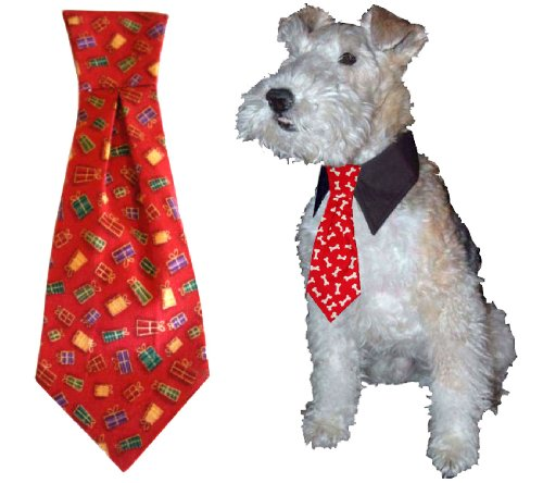 Calvin K-nine Holiday Necktie with Christmas Presents (M) 8″ long, My Pet Supplies