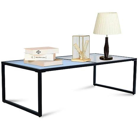 Amazon Com Rectangular Coffee Table Tempered Glass Top Metal